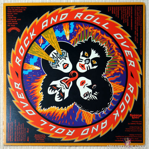Kiss ‎– Rock And Roll Over vinyl record back cover