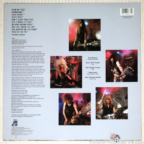 Kix ‎– Blow My Fuse - Vinyl Record - Back Cover
