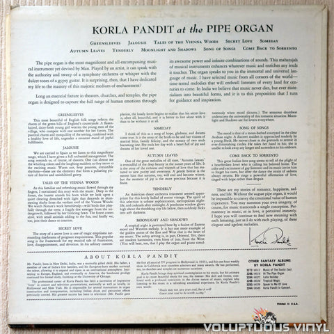 Korla Pandit ‎– At The Pipe Organ - Vinyl Record - Back Cover
