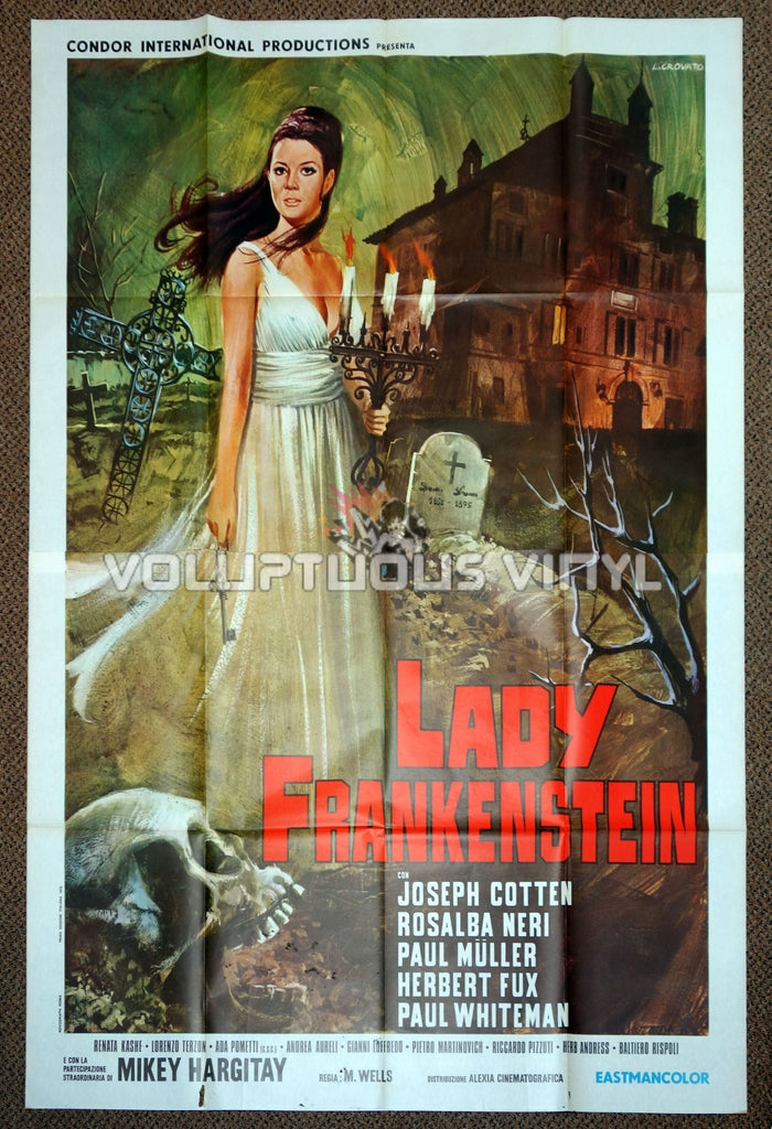 Lady Frankenstein (1971) - Italian 4F - Rosalba Neri In Spooky Graveyard Movie Poster