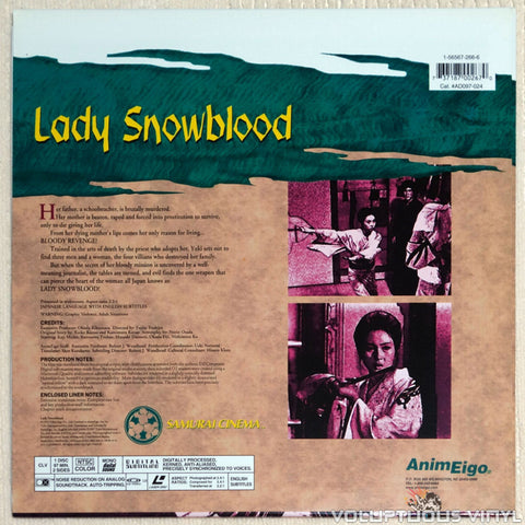 Lady Snowblood - Laserdisc - Back Cover