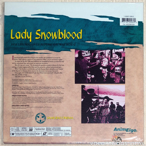 Lady Snowblood 2: Love Song of Vengeance - Laserdisc - Back Cover