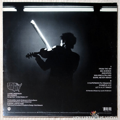 Laurie Anderson ‎– Big Science - Vinyl Record - Back Cover