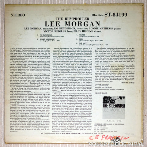 Lee Morgan ‎– The Rumproller - Vinyl Record - Back Cover