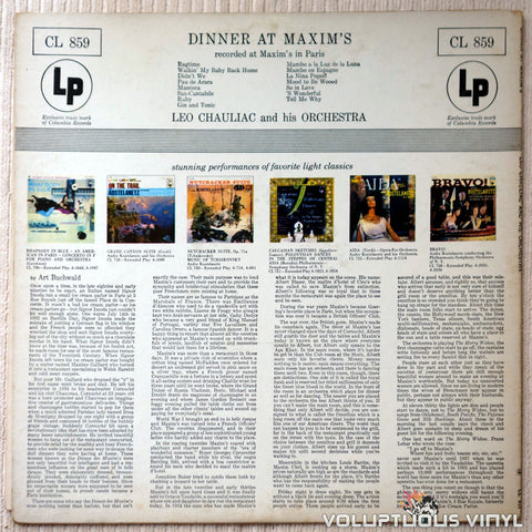 Leo Chauliac And His Orchestra ‎– Dinner At Maxim's - Vinyl Record - Back Cover