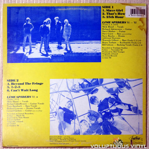 Lime Spiders ‎– Slave Girl - Vinyl Record - Back Cover