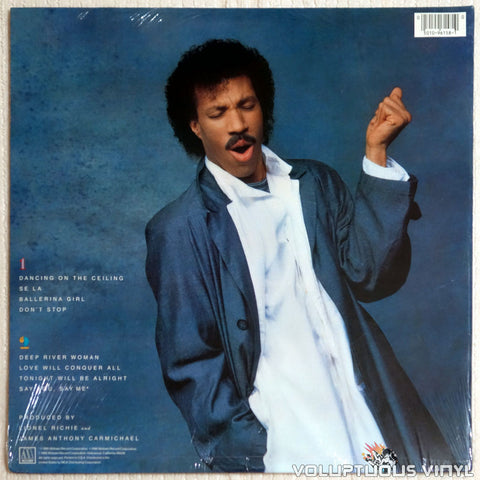 Lionel Richie ‎– Dancing On The Ceiling - Vinyl Record - Back Cover