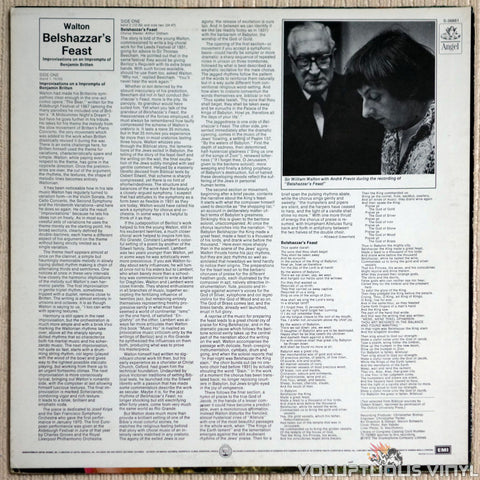 Sir William Walton / London Symphony Orchestra / André Previn ‎– Belshazzar's Feast / Improvisations On An Impromptu Of Benjamin Britten - Vinyl Record - Back Cover