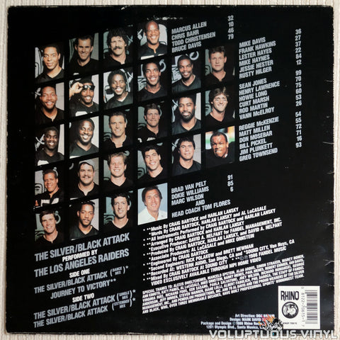 The Los Angeles Raiders ‎– The Silver/Black Attack - Vinyl Record - Back Cover