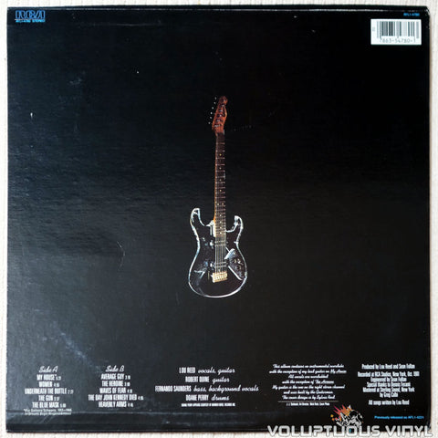 Lou Reed ‎– The Blue Mask - Vinyl Record - Back Cover
