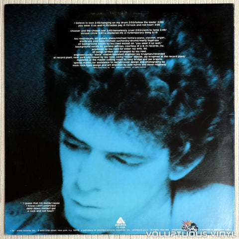 Lou Reed ‎– Rock And Roll Heart - Back Cover - Vinyl Record
