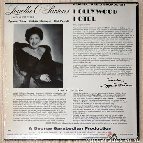 Louella Parsons ‎– Hollywood Hotel - Vinyl Record - Back Cover