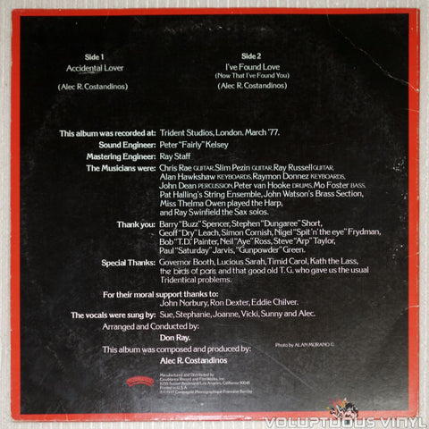 Love And Kisses ‎– Love And Kisses - Vinyl Record - Back Cover