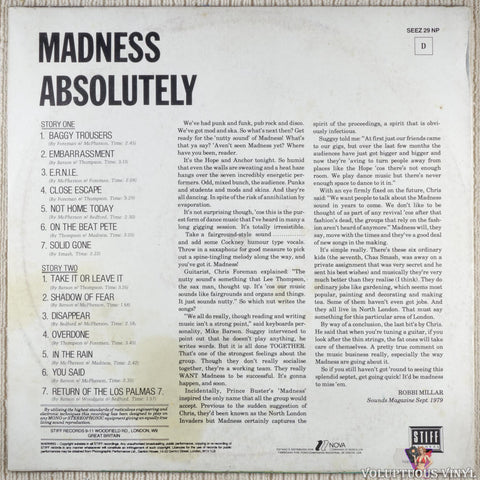 Madness ‎– Absolutely vinyl record back cover