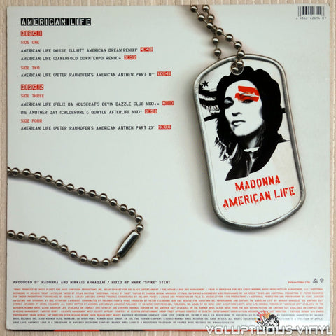Madonna ‎– American Life - Vinyl Record - Back Cover