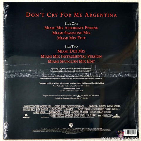 Madonna ‎– Don't Cry For Me Argentina - Vinyl Record - Back Cover