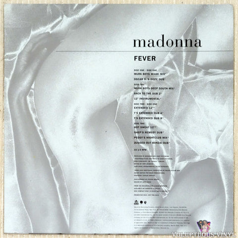 Madonna ‎– Fever vinyl record back cover