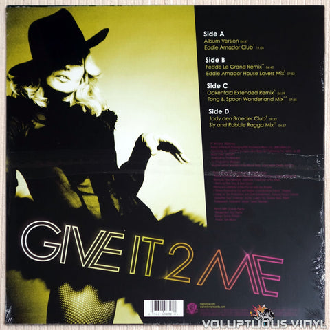 Madonna ‎– Give It 2 Me - Vinyl Record - Back Cover