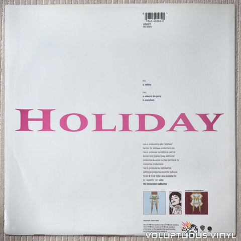 Madonna ‎– Holiday - Vinyl Record - Back Cover
