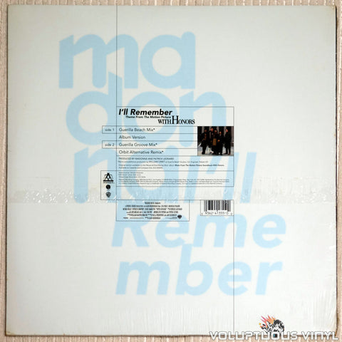 Madonna ‎– I'll Remember - Vinyl Record - Back Cover