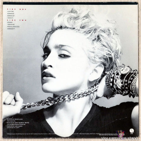 Madonna ‎– Madonna vinyl record back cover