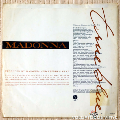 Madonna ‎– True Blue vinyl record back cover