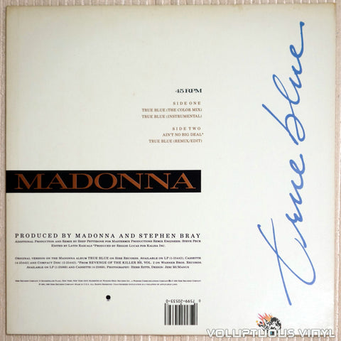 Madonna ‎– True Blue - Vinyl Record - Back Cover