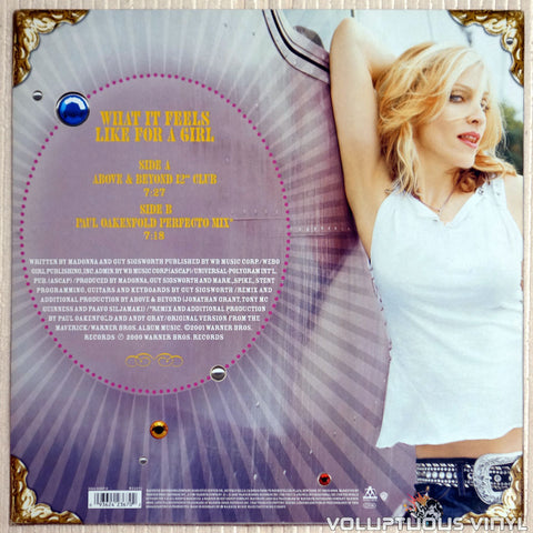 Madonna ‎– What It Feels Like For A Girl - Vinyl Record - Back Cover