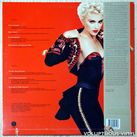 Madonna ‎– You Can Dance - Vinyl Record - Back Cover