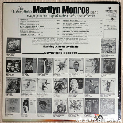 Marilyn Monroe ‎– The Unforgettable Marilyn Monroe Sings Songs From Her Original Motion Picture Soundtracks - Vinyl Record - Back Cover