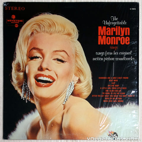 Marilyn Monroe ‎– The Unforgettable Marilyn Monroe Sings Songs From Her Original Motion Picture Soundtracks - Vinyl Record - Front Cover
