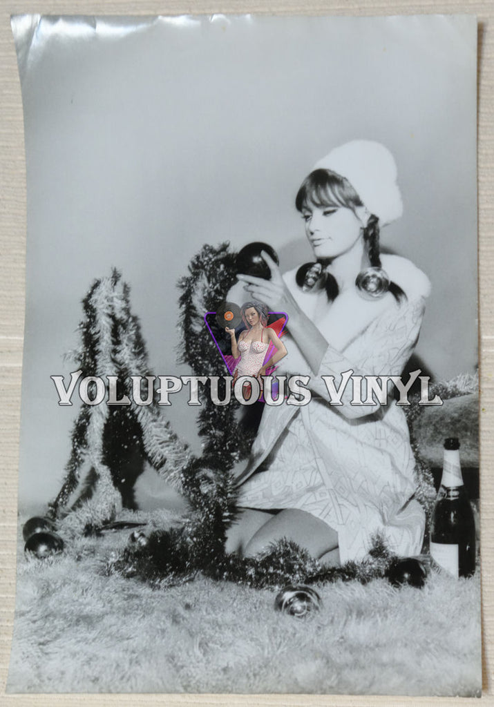 A Marisa Mell Christmas 1970's black and white photograph