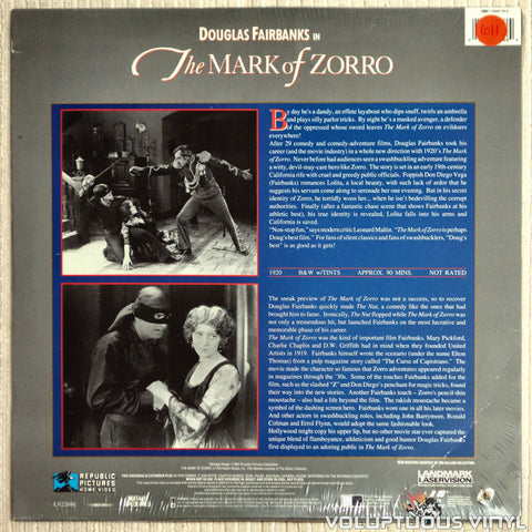 Mark of Zorro - LaserDisc - Back Cover