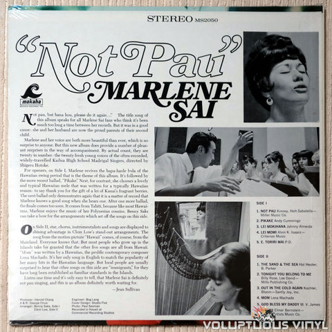 "Marlene Sai ‎– ""Not Pau"" - Vinyl Record - Back Cover"