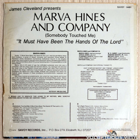 Marva Hines And Company ‎– It Must Have Been The Hands Of The Lord - Vinyl Record - Back Cover