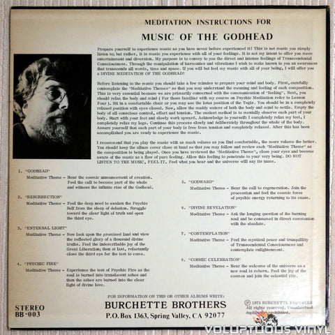 Master Wilburn Burchette ‎– Music Of The Godhead For Supernatural Meditation - Vinyl Record - Back Cover