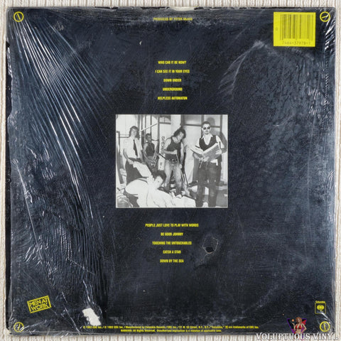 Men At Work ‎– Business As Usual vinyl record back cover