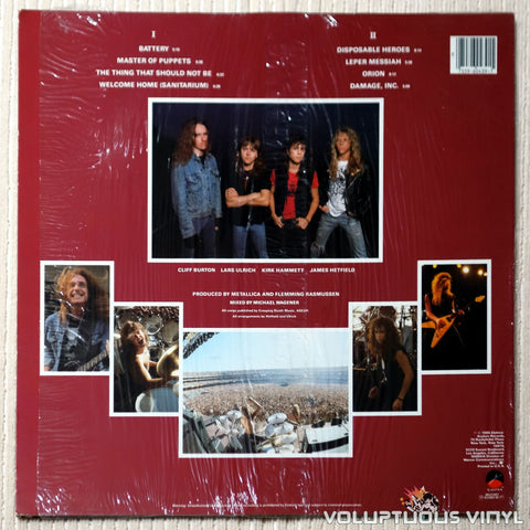 Metallica ‎– Master Of Puppets - Vinyl Record - Back Cover
