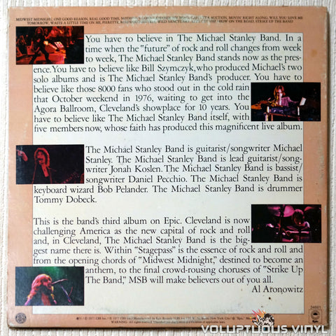 Michael Stanley Band ‎– Stage Pass - Vinyl Record - Back Cover