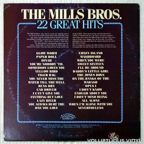 The Mills Brothers - 22 Great Hits - Vinyl Record - Back Cover