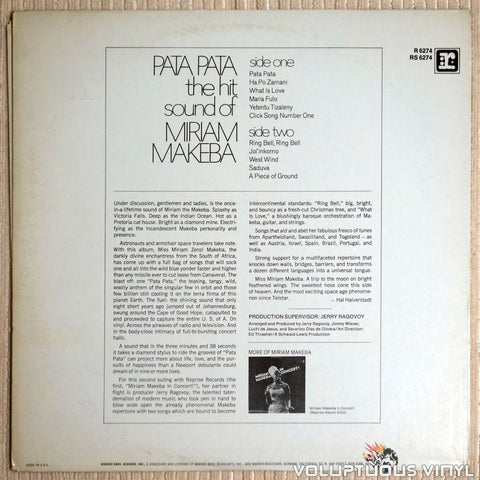 Miriam Makeba ‎– Pata Pata - Vinyl Record - Back Cover