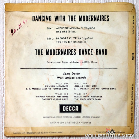 The Modernaires Dance Orchestra ‎– Dancing With The Modernaires - Vinyl Record - Back Cover