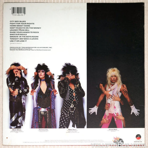 Mötley Crüe ‎– Theatre Of Pain - Vinyl Record - Back Cover