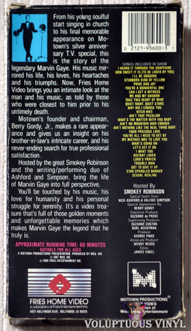 Motown Productions Presents: Marvin Gaye Hosted by Smokey Robinson VHS back cover