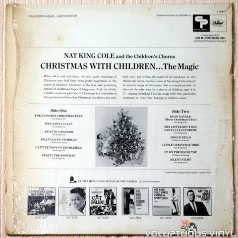 Nat King Cole And The Children's Chorus ‎– The Magic Of Christmas With Children - Vinyl Record - Back Cover