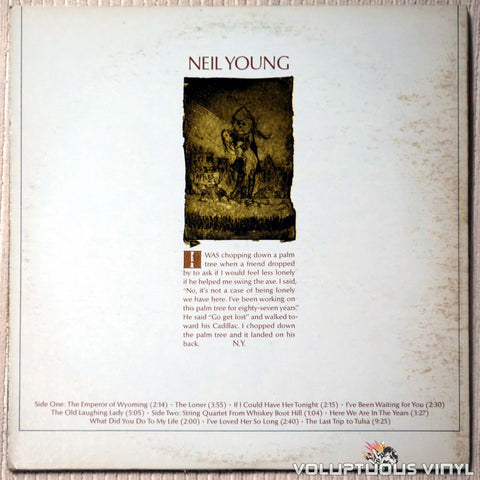 Neil Young ‎– Neil Young - Vinyl Record - Back Cover