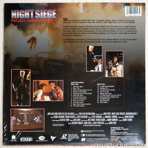 Night Siege: Project Shadowchaser 2 - Laserdisc - Back Cover