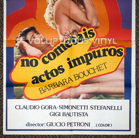 Do Not Commit Adultery 1981 Spanish 1-Sheet Movie Poster for the Italian Sex Comedy with Nude Barbara Bouchet - Bottom Half