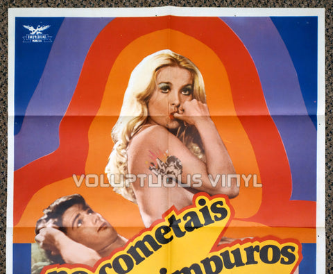 Do Not Commit Adultery 1981 Spanish 1-Sheet Movie Poster for the Italian Sex Comedy with Nude Barbara Bouchet - Top Half