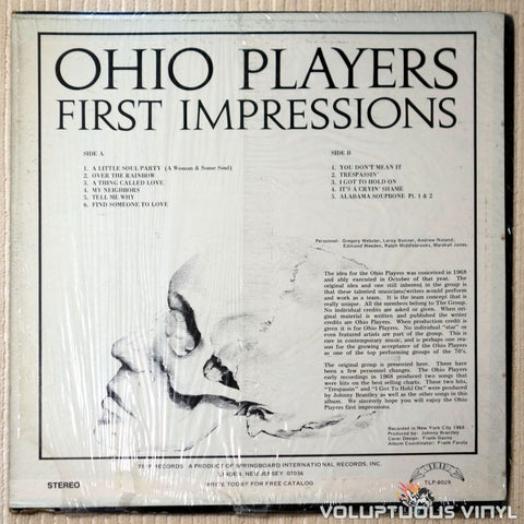 Ohio Players ‎– First Impressions - Vinyl Record - Back Cover